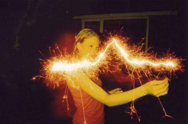 Long exposure sparkler photo